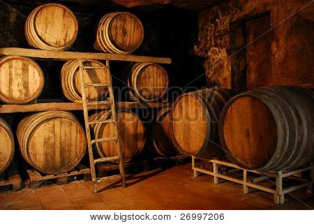Detail of a wine fermentation barrels room.