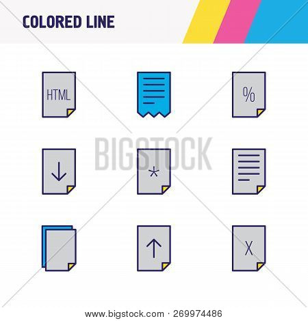 Vector Illustration Of 9 Document Icons Colored Line. Editable Set Of Delete File, Important File, H