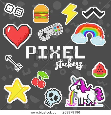Vector Pixel Art 8 Bit Retro Stickers Set
