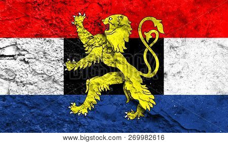 Flag Of Benelux Closeup Painted On A Wall