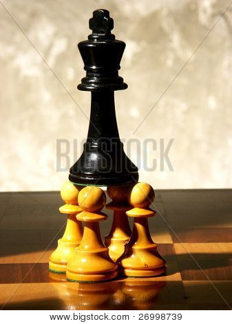 chess game over wood chart.defeated queen.