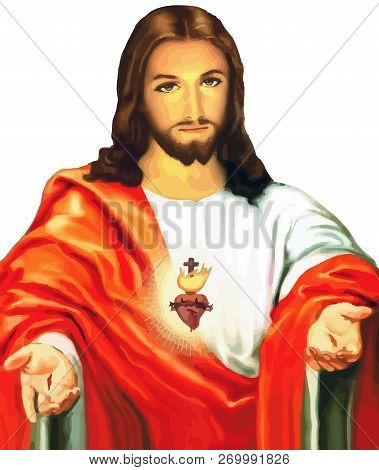 Jesus Christ Sacred Love Peace Faith Holy Heart Spirit Illustration