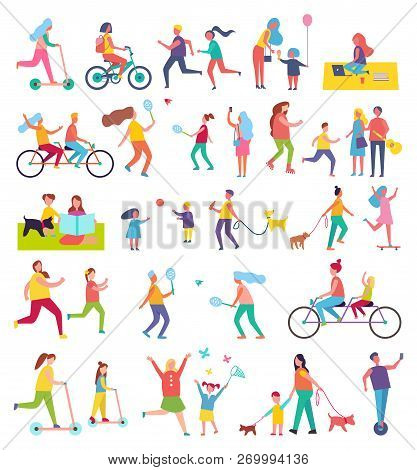 Couple Running And Riding Bike Isolated Icons Set. Butterfly Cathing, Working In Park, Walking Dog,