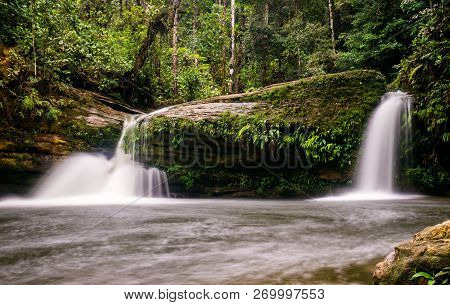 Small Waterfall At Fin Del Mundo Waterfall In Mocoa, Southern Colombia: This Waterfall Is Part Of Th
