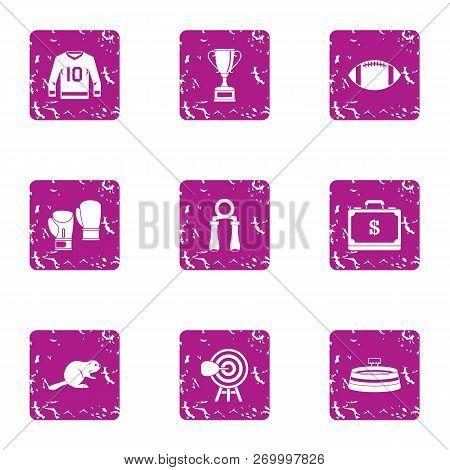 Physical Education Icons Set. Grunge Set Of 9 Physical Education Icons For Web Isolated On White Bac
