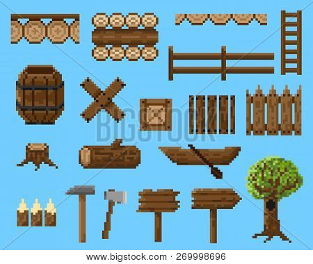 A Set Of Pixel Objects And Seamless Elements Made Of Wood.