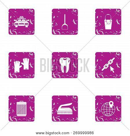 Big City Life Icons Set. Grunge Set Of 9 Big City Life Icons For Web Isolated On White Background