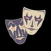 Original vector illustration of theatrical masks on a black background. Comedy and tragedy. Vintage style. Kind and evil joker. Cheerful and sad actor. The drawing for design. Vector color illustration. poster