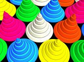 3d - colorful stage cones on black poster