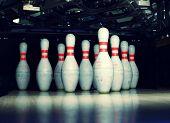 bowling pins closeup poster