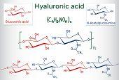 Hyaluronic acid (HA, hyaluronate, hyaluronan ) macromolecule. Hyaluronic acid (HA) is a viscoelastic biomaterial composed, of repeating disaccharide units of N- acetylglucosamine and D-glucuronic acid. Structural chemical formula. Vector illustration poster