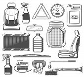 Car service, spare parts and accessories of vehicle maintenance. Seat and oil canister, speedometer and coolant, brush and scriber, triangle and wheel wrench, charger and wipers, radiator ans sprayer poster