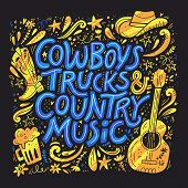 Country music festival retro poster vector template. Hand drawn blue lettering. Cowboy fest banner, invitation concept. Acoustic guitar, beer, cowboy hat cliparts. Color western vintage illustration poster