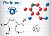 Pyridoxal molecule, is a vitamin B6. Structural chemical formula and molecule model. Sheet of paper in a cage. Vector illustration poster