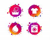 Wash machine icon. Hand wash. T-shirt clothes symbol. Laundry washhouse and water drop signs. Not machine washable. Gradient circle buttons with icons. Random dots design. Vector poster