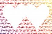 Hearts shaped words I Love You isolated on white background poster