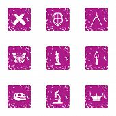 Prehistory icons set. Grunge set of 9 prehistory icons for web isolated on white background poster