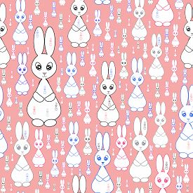 7587811 Pink Seamless Pattern With Rabbits .