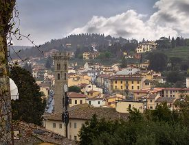 View Of Fiesole, Italy Center From Above.