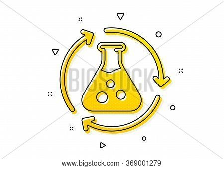 Laboratory Flask Sign. Chemistry Experiment Icon. Analysis Symbol. Yellow Circles Pattern. Classic C