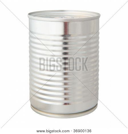 real photo of aluminium can isolated on white background
