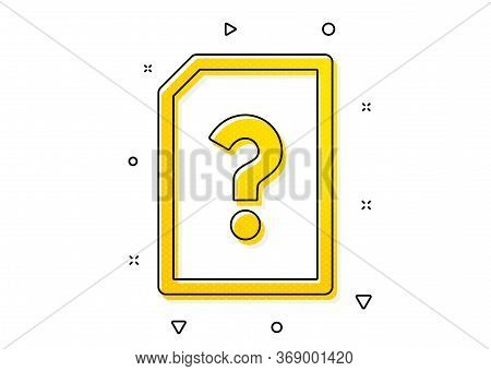 File With Question Mark Sign. Unknown Document Icon. Untitled Paper Page Concept Symbol. Yellow Circ