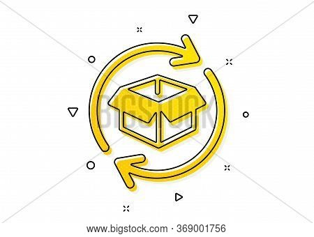 Return Parcel Sign. Exchange Of Goods Icon. Package Tracking Symbol. Yellow Circles Pattern. Classic