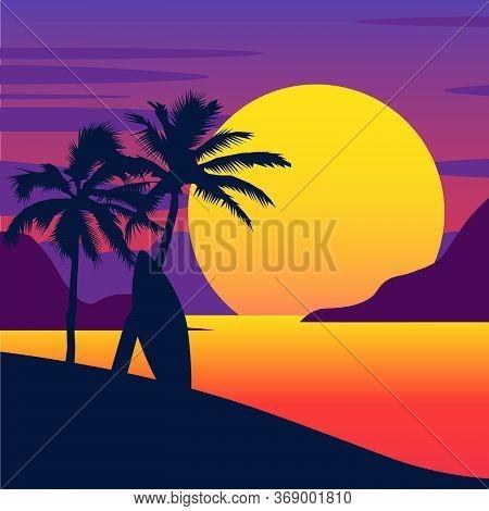 Tropical Summer Beach. Gradient Beach Sunset Landscape. Vector Backgrounds Eps