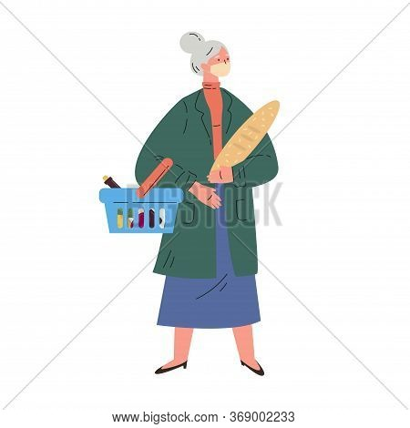 Coronavirus Pandemic.old Woman Shopping During Quarantine In A Protective Mask.mature Woman In A Tre