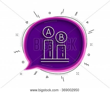 Ab Testing Line Icon. Chat Bubble With Shadow. Ui Test Chart Sign. Thin Line Ab Testing Icon. Vector