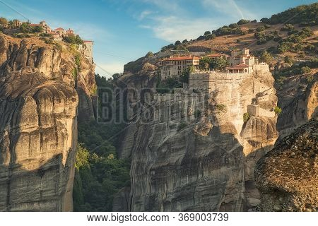 Old Monastery On The Top Of Rock In Meteora, Thessaly, Greece