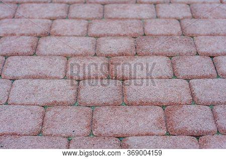 Sidewalk Tiles. Closeup Of Paving Slabs. Texture, Red Paving Slabs. Street Paving Slabs. Cement Bloc