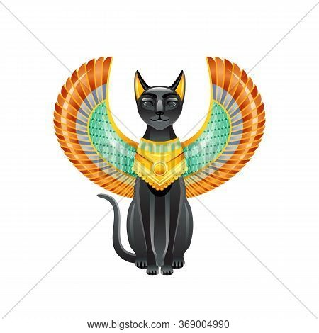 Egyptian Cat. Bastet Goddess. Black Cat With Scarab Wings And Gold Necklace. Satuette From Ancient E