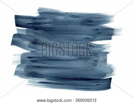 Deep Indigo Blue And Gray Watercolor Expressive Vibrant Brush Strokes Background. Modern Textured Gr