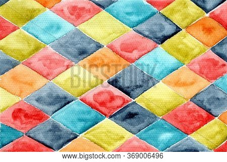 Bright Horizontal Watercolor Colorful Rhombus Composition On White Background. Abstract Colorful Rho