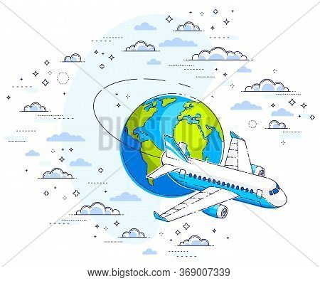 Airlines Air Travel Illustration With Plane Airliner And Planet Earth In The Sky Surrounded By Cloud