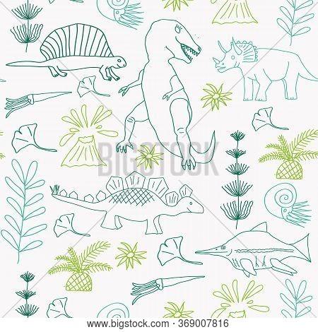 Vector Seamless Pattern, Dinosaurus, Tyranosaurus, Stegosaurus, Horsetail, Prehistoric Flowers. Line