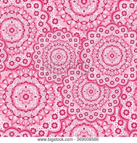 Persian Medallion Flower Seamless Ornament Vector Graphic Design. Pattern Template For Carpet. Lovel