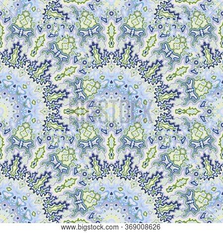 Kaleidoscope Floral Seamless Ornament. Arabic Folk Vector Composition. Lace Damask Medallion Geometr