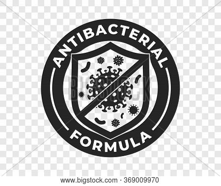 Antibacterial Hand Gel Icon, Vector Shield And Virus Logo, Anti Bacterial Formula Antiseptic Hand Wa