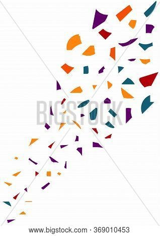 Abstract Multicolor Mosaic Splinters On White Background. Vector Template For Modern Postcard, Card,