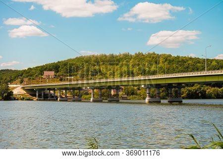 Automobile Bridge Over The Seversky Donets River. Water Reservoir. Belgorod Suburban District, Russi