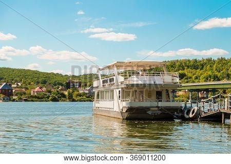 Belgorod Region, Russia - August 11, 2019: Pleasure Ship Riviera River - Comfortable Two-deck Houseb
