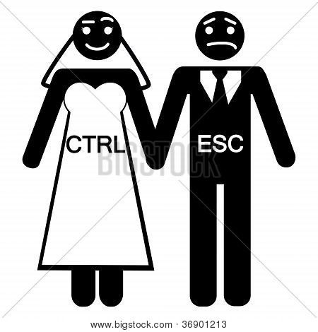 humorous vector illustration of a bride / control and groom / escape icon poster