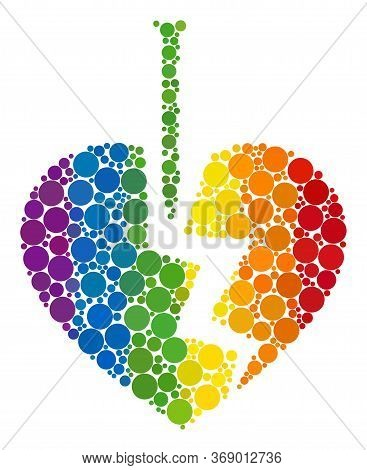 Break Valentine Heart Mosaic Icon Of Filled Circles In Different Sizes And Spectrum Colored Color Hu