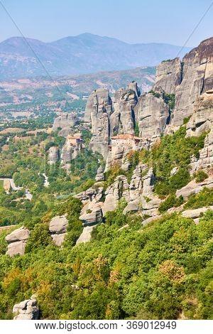 Cliffs of Meteora with monasteries of Rousanou and Agios Nikolaos, Thessaly, Greece - Greek landscape