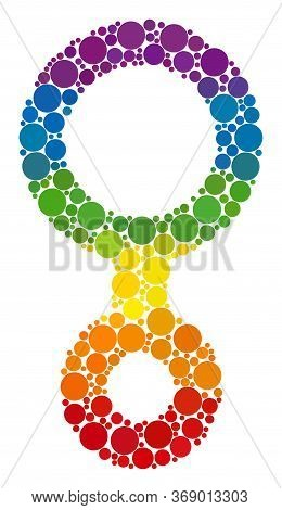Third Gender Symbol Collage Icon Of Spheric Dots In Various Sizes And Spectrum Colored Color Hues. A