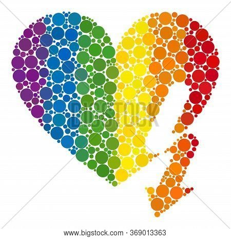 Love Heart Strike Composition Icon Of Round Items In Various Sizes And Spectrum Colorful Shades. A D
