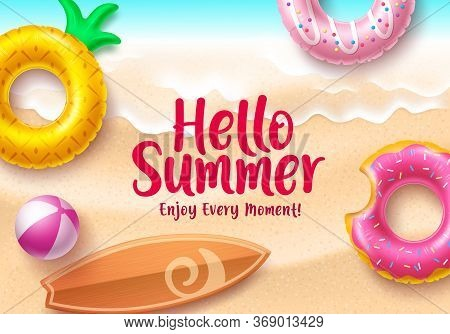 Hello Summer Vector Banner Design. Hello Summer Text With Colorful Beach Elements Like Floating Donu