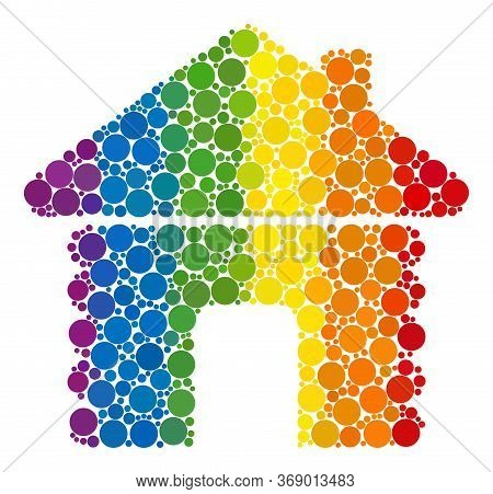 Wooden House Collage Icon Of Circle Elements In Various Sizes And Spectrum Color Tinges. A Dotted Lg